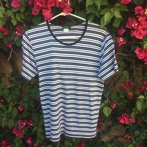 Black and white J. Crew stripped tee, size large